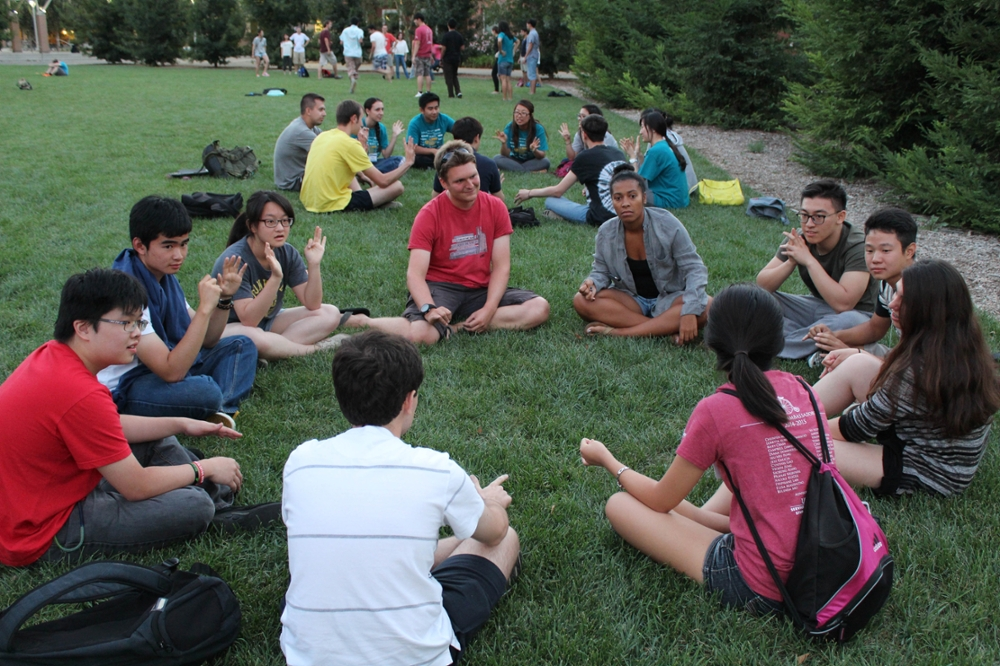 Pictured: Volunteers and new international students during the 2014 Fall Orientations.