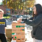 students stacking blocks