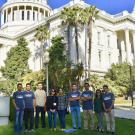 group of students in front of the state capitol