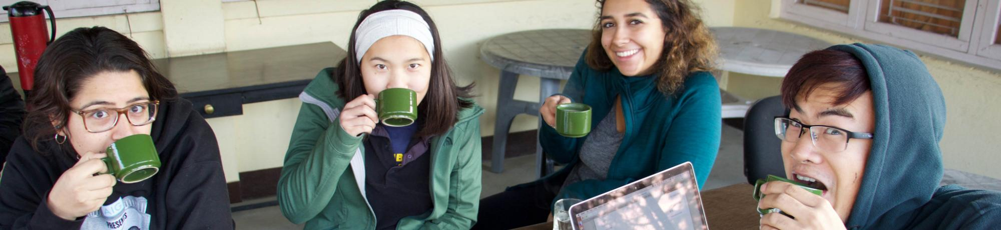 Students sipping on coffee together